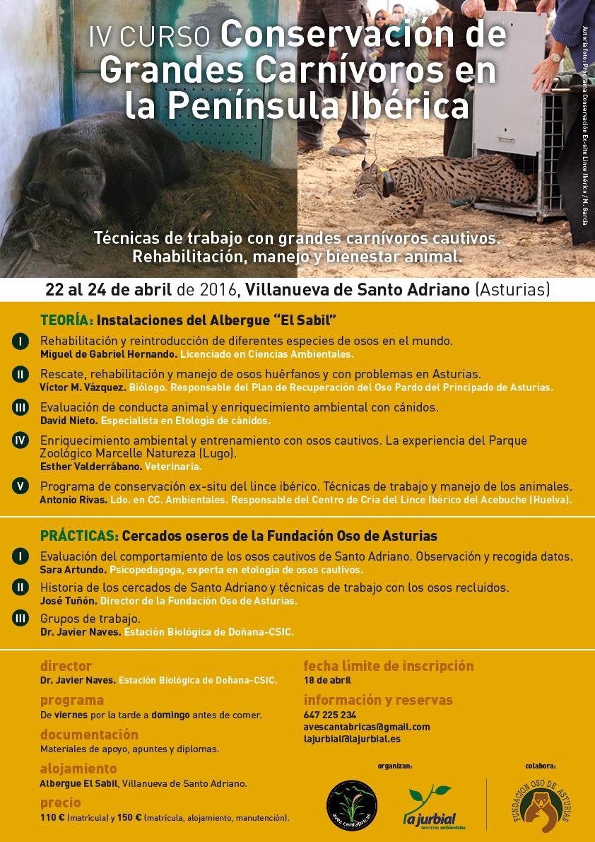 """IV CURSO """"CONSERVACIÓN DE GRANDES CARNÍVOROS EN LA PENÍNSULA IBÉRICA"""""""